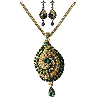Hazel Art Pendant Set in Pearls with Matching Earring Antique Plated Chain Necklace for Women