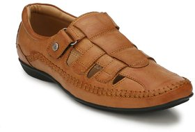 El Paso Mens Tan Synthetic Leather Casual Sandals