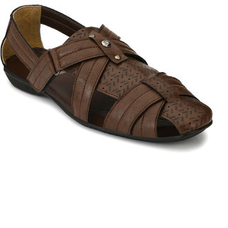 El Paso Men's Brown Synthetic Leather Casual Sandals