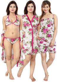 Be You Pink Floral Women Nightwear Set1 Robe, 1 lingerie set, 1 Top  1 Shorts