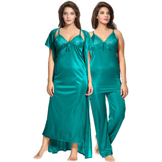 Be You Turquoise Solid Women 4 Pieces Nightwear Set Nighty with robe  Top  Pyjama Set