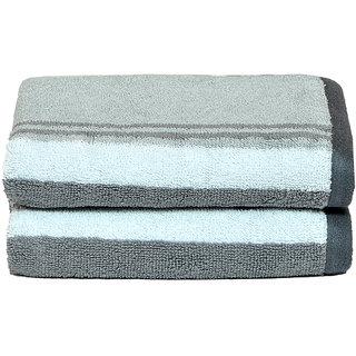 NovaHome - Shiny 100 Cotton 400 GSM Design Set of 2 Hand Towels (40 X 60) - Grey