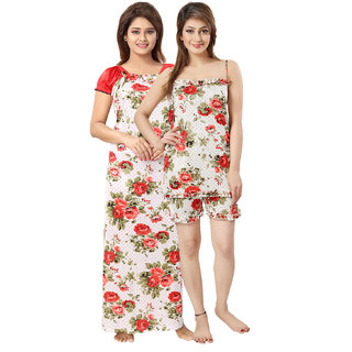 Be You Red Floral Women Nightwear Set