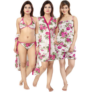 Buy Be You Pink Floral Women Nightwear Set1 Robe c4165a8d60