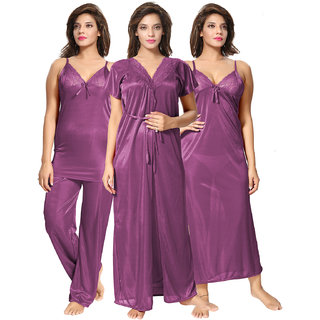 Be You Purple Solid Women 4 Pieces Nightwear Set Nighty with robe  Top  Pyjama Set