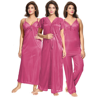 Be You Pink Solid Women 4 Pieces Nightwear Set Nighty with robe  Top  Pyjama Set