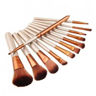 Imported 12 Pieces Cosmetic Makeup Brushes With Metal Case