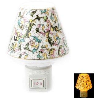 Stylish Ceramic Printed Plug In Night Lamp (Multi Designed Print)