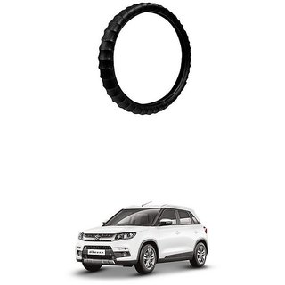 KunjZone Highly Quality Premium Finger Grip Steering Cover Black For Maruti Suzuki Vitara Brezza