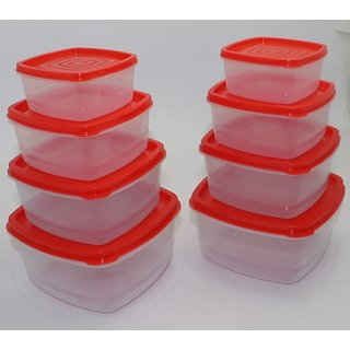 Transparent Airtight Plastic Food Storage Containers Set of 8 PCS (1350 ml 750 ml 500 ml 250 ml) Red