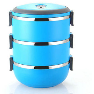 3 Container Thermal Bento LunchBox ThermosStainless Steel Insulation Storage food Dinnerware with handle 2100ML