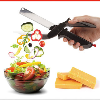 Smart Clever Scissors Cutter 2 in 1 Stainless Steel Kitchen Knife Shears Vegetable Slicer Dicer with Cutting Board