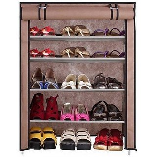 Caxon BROWN Cabinet-4Layer Carbon Steel Collapsible Shoe Stand (Brown 4 Shelves)