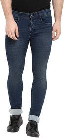 Routeen Men's Brown Blue Cotton Spandex Jeans