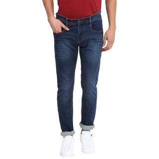 Routeen Men's Dark Blue Cotton Spandex Jeans