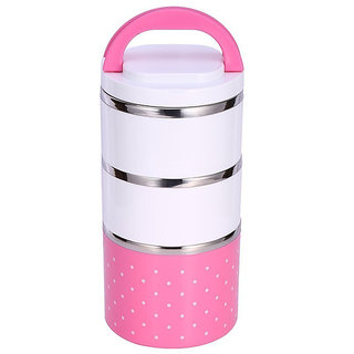 Stainless Steel Insulation Thermal Handle,Pink PolkaDot Mini Sealed Food Container LeakProof Lunch Box 1230ml-3 layer