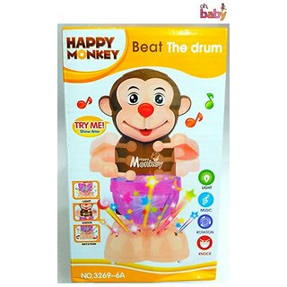 OH BABY, BABY The Happy Monkey Drummer with Light  music FOR YOUR KIDS SE-ET-82