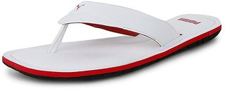 Puma Men's White and Red Flip Flops