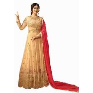 Salwar Soul Beige Georgette Anarkali Semi-Stitched Suit