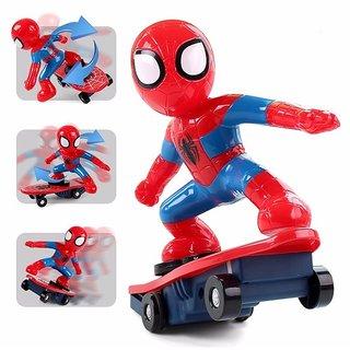 Shribossji Remote Control Spidereman Skateboard With Anti Rolling Stunt Music Toy