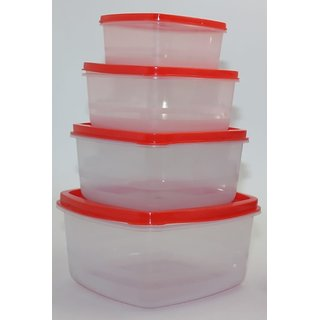 Transparent Airtight Plastic Food Storage Containers Set of 4 PCS (1350 ml 750 ml 500 ml 250 ml) Red