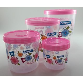 Sagar Airtight With Twister Plastic Containers Set of 4 PCS (2400ml 1600ml 800ml 400ml) Pink