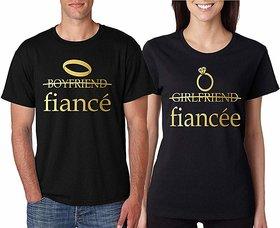 Boyfriend Fiance Girlfriend Fiancee Black Cotton Couple T Shirt (Pack of 2)