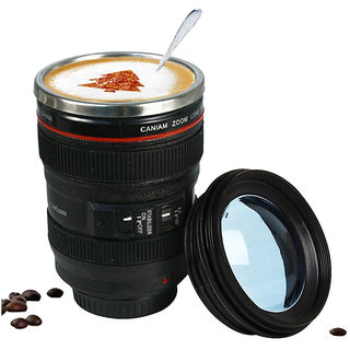 PAGALY Camera Lens Coffee Mug Flask With Cookie Holder Black