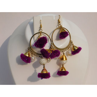 (pair 1) Fancy Unique Party Wear Multicolor Woolen Gota Earrings.