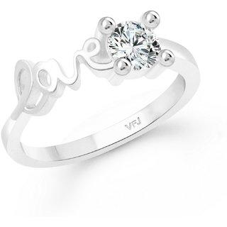 Vighnaharta Love Sign CZ Rhodium Plated Alloy Finger Ring for Women and Girls - VFJ1355FRR8