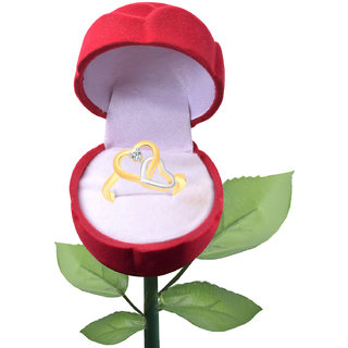 Vighnaharta Fancy Dual Heart CZ Gold and Rhodium Plated Alloy Ring with Rose Ring Box for Women and Girls - [VFJ1351ROSE-G8]
