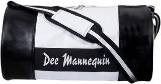 Dee Mannequin Black White Leatherite Gym Bag