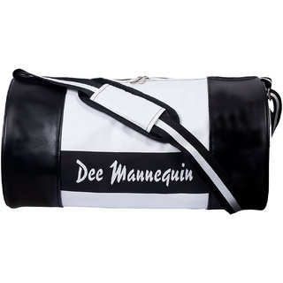 Dee Mannequin Black White Leatherite Gym Bag