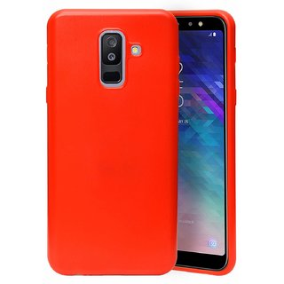 ECellStreet Case [Ultra-Thin] [Anti-Drop] Rubberized Slim Protective Case Back Cover For Samsung Galaxy A6 Plus (6.0 inch 2018) - Red
