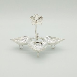 Maa Silver Leaf Shape Three Diya/Lamp/Deepak/Deep attached with Silver Flower on Top Perfect for Gift and Pooja Purpose