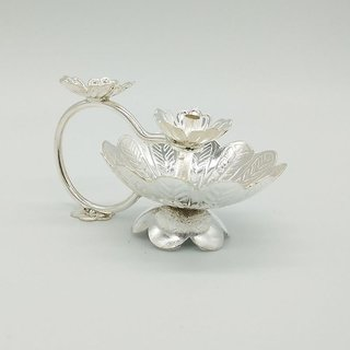 Maa Silver Flower Shape Diya/Lamp/Deepak/Deep attached with Silver Flower on Top Perfect for Gift and Pooja Purpose