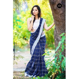 Indian Beauty Blue Linen Printed Saree With Blouse