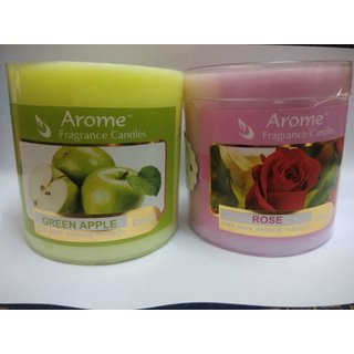 Sattva Arome Fragrance Candles Combo- Green Apple + Rose