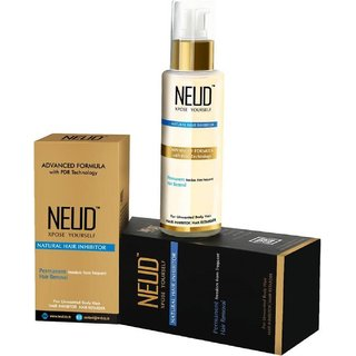 NEUD Natural Hair Inhibitor for Permanent Reduction of Unwanted Hair - 1 Pack (80ml)