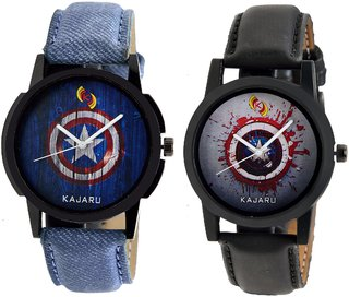 Kajaru KJR-102,104 Round Black And Blue Dial Analog Watch Combo for Men