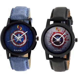 Kajaru KJR-102,104 Round Black And Blue Dial Analog Watch Combo for Men