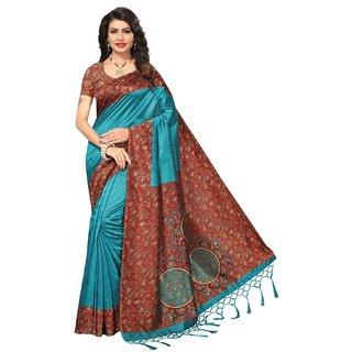 Meia Sky Blue Bhagalpuri Cotton Silk Printed Saree With Blouse