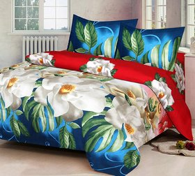 Modern Home 3D Poly Cotton Bedsheet 1 Double  With 2 Pillow cover