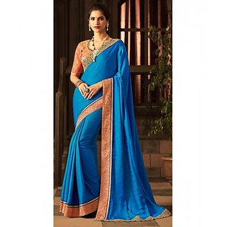 Royal Blue Colored Silk Embroidered Blouse With Border Work Saree