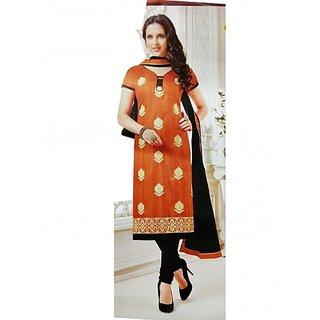 Orange Embroidered Bhagalpuri Silk Unstitched Dress Material For Women