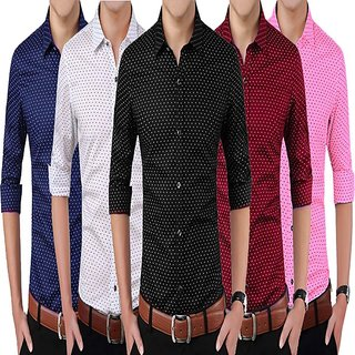 Manu B Dotted Printed Cotton Casual Shirts (Pack of 5)