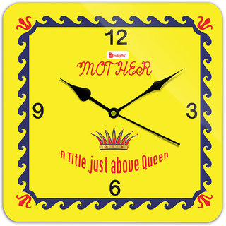 Indigifts Mother - A title above Queen. Beautiful Square Wall Clock 11 x 11 - Yellow - House Warming Gift for Mom Mother on her Birthday Anniversary Mothers Day Special Day Home Decor