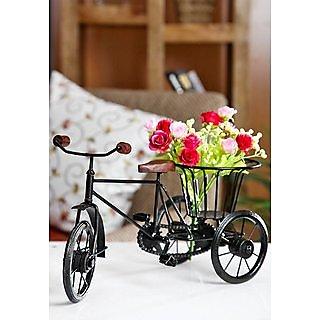 Wrought Iron Small Miniature Flower Rikshaw