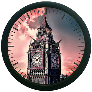 AE World Pink Clock Tower Wall Clock (With Glass) 12 Inches