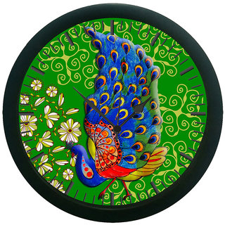 AE World Green Peacock Wall Clock (With Glass) 12 Inches